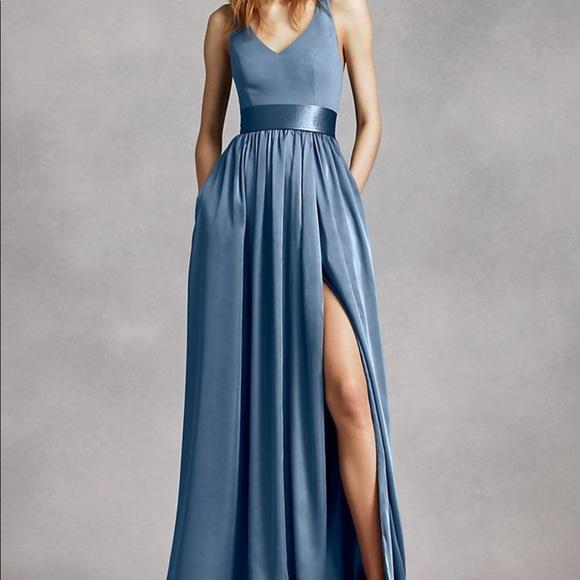 6bd94642e539 White by Vera Wang Dresses | Vera Wang V Neck Halter Gown With Sash ...